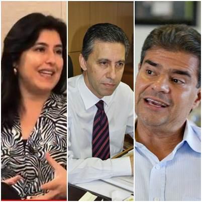 Vice-governadora Simone Tebet, vice-presidente do PMDB, Esacheu Nascimento e Pré-candidato do PMDB ao governo do Estado, Nelson Trad Filho