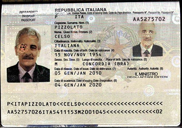 Interpol divulgou uma imagem que seria do passaporte encontrado com Henrique Pizzolato, na Itália<br />Foto: Divulgação/Interpol