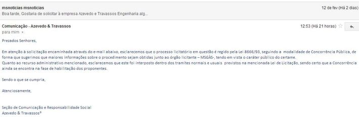 E-mail enviado pelo setor de Comunicação da empresa Azevedo & Travassos