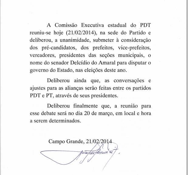 carta do PDT anunciado oficialmente aliança com PT<br />Foto: PDT