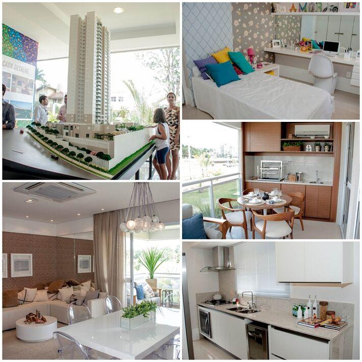 Maquete do empreendimento e cômodos do apartamento decorado<br />Foto: Marcelo Calazans