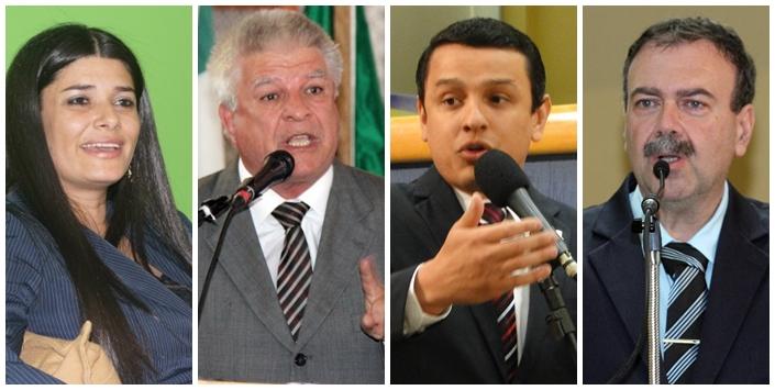 Vereadores Rose Modesto (PSDB), Edil Albuquerque (PMDB), Elizeu Dionizio (SDD) e Paulo Siufi (PMDB)<br />Foto: Reprodução