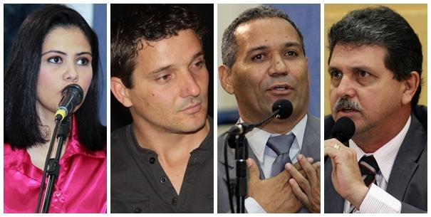 Vereadores Grazielle Machado (PR), Eduardo Romero (PT do B), Chiquinho Telles (PSD) e João Rocha (PSDB)<br />Foto: Reprodução