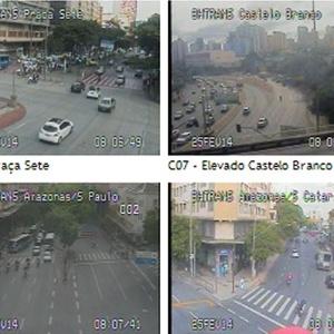 Imagens das câmeras instaladas pela BHTrans mostram o trânsito na manhã desta terça-feira (25) em Belo Horizonte, que entra no segundo dia de greve de ônibus<br />Foto: Divulgação