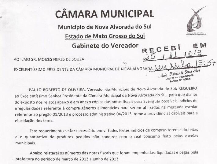 Cópia do requerimento enviado pelo vereador Paulo Roberto de Oliveira (PT) em que pede à Câmara abertura de comissão para investigar possíveis irregularidades na compra de gêneros alimentícios