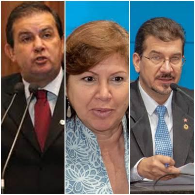 Deputados estaduais: Eduardo Rocha (PMDB), Dione Hashioka (PSDB) e Pedro Kemp (PT)<br />Foto: arquivo