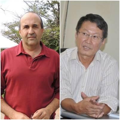 Prefeito de Bonito Leonel Lemos (PT do B) e prefeito de Vicentina Helio Sato (PMDB)<br />Foto: arquivo