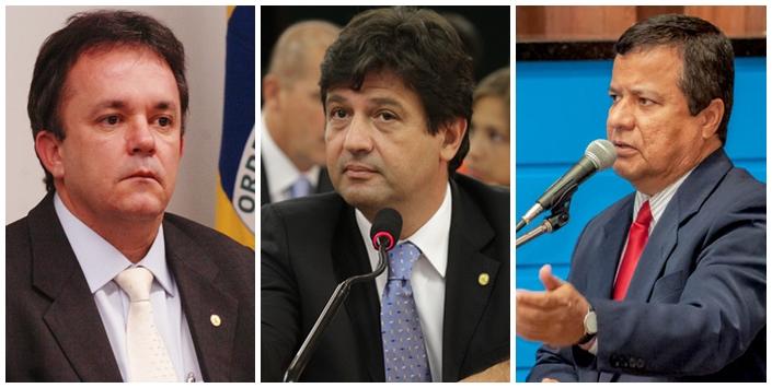 Vander Loubet (PT), Henrique Mandetta (DEM) e Amarildo Cruz (PT)<br />Foto: Reprodução/Marcelo Calazans