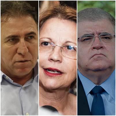 Secretário estadual de obras Edson Giroto (PR), Tereza Cristina (PSB) e Deputado Estadual Carlos Marun (PMDB)<br />Foto: arquivo