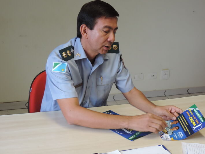 O tenente-coronel Alirio Villasanti ressalta que percorreu alguns municípios do interior, apresentando as propostas da chapa 1 - Foto: Tayná Biazus