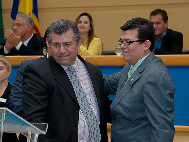 Prefeito Gilmar Olarte (PP), e o secretário da Semadur, Cezar Afonso.<br />Foto: Marcelo Calazans