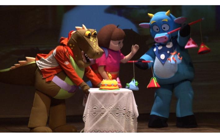 O espectador tem um papel muito importante na história de Dora e seus amiguinhos Botas, Mapa e Mochila, ajudando os personagens a cumprir a sua missão. Por mais que tenha a orientação geográfica do Mapa e dos objetos de Mochila, Dora sempre recorre à