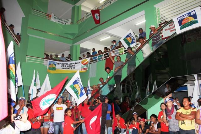 Representantes do MST na sede do Incra<br />Foto: Assessoria