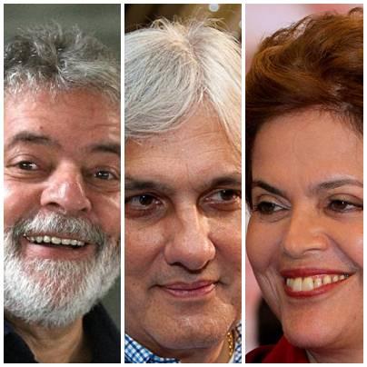 Ex-presidente Lula, senador Delcídio do Amaral e presidente Dilma Rousseff, todos do PT<br />Foto: arquivo