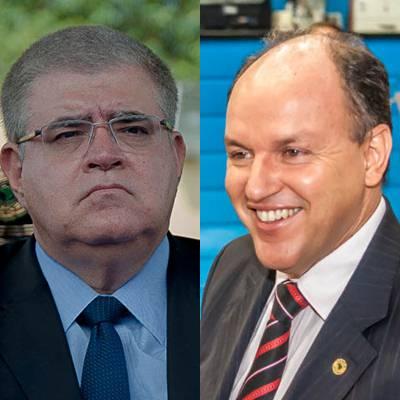 Deputados estaduais Carlos Marun e Junior Mochi ambos do PMDB