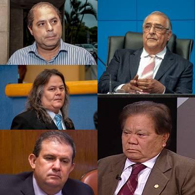 Membros do PMDB que irão apoiar reeleição da presidente Dilma Rousseff (PT). Vereadores Mário César e Vanderlei Cabeludo e deputados Eduardo Rocha, Jerson Domingos e Akira Otsubo