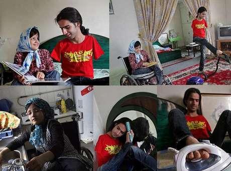 Ahmad e Fatima não se desgrudam e mostram que é possível vencer, unidos, as dificuldades. História do casal iraniano correu o mundo pela internet<br />Foto: Facebook / Reprodução