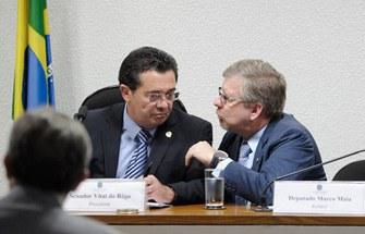Senador Vital do Rêgo (PMDB) e deputado federal Marco Maia (PT)<br />Foto: Agência Senado