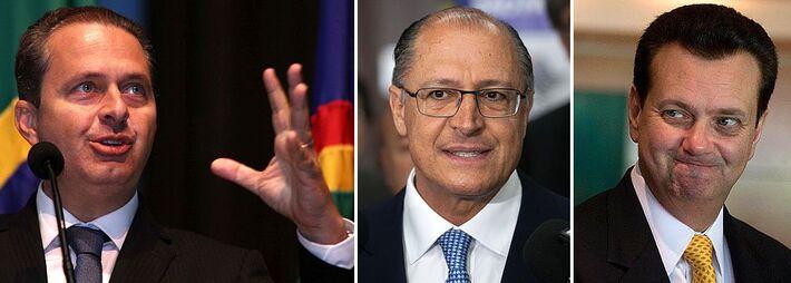 Presidenciável Eduardo Campos (PSB), governador de São Paulo Geraldo Alckmin (PSDB) e presidente nacional do PSD Gilberto Kassab