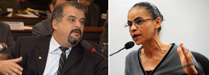 Deputado Márcio França presidente do PSB de São paulo e Marina Silva, pré-candidata a vice-presidente na chapa de Eduardo Campos
