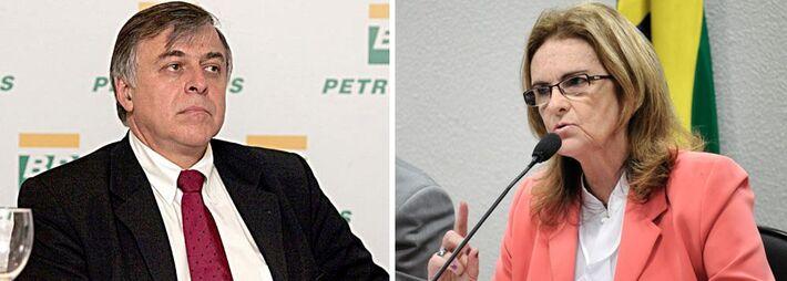Ex-diretor de Abastecimento da Petrobras Paulo da Costa e diretora da estatal Graça Foster