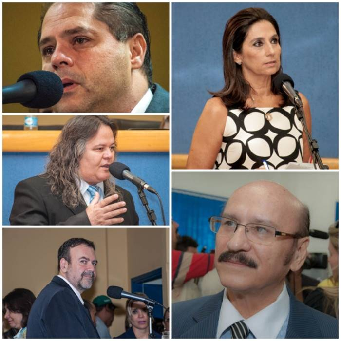Vereador Mário César, Carla Stephanini, Wanderlei Cabeludo, Dr. Loester e Paulo Siufi<br />Foto: Arquivo