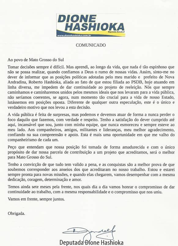 Deputada Dione Hashioka (PSDB) vai se juntar ao esposo Roberto (PMDB) no palanque do PT Foto: Arquivo/Nova News