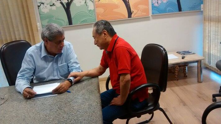 Governador do Estado, André Puccinelli (PMDB) e deputado estadual, George Takimoto (PDT)<br />Foto: Assessoria