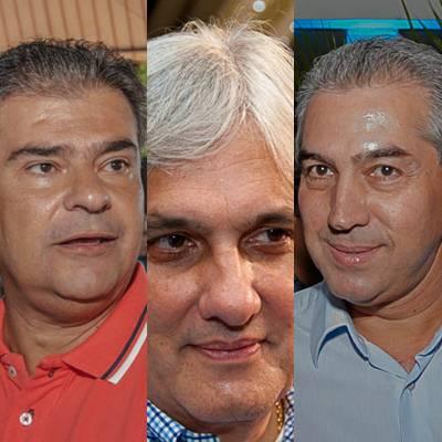 Nelsinho Trad (PMDB), Delcídio do Amaral (PT) e Reinaldo Azambuja (PSDB), todos candidatos a governo do Estado<br />Foto: aqruivo