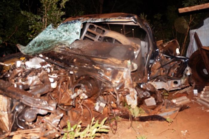 Com a força da batida, o veículo, com placas de Rio Brilhante, ficou totalmente destruído e o animal foi a óbito.<br />Foto:Diego Oliveira/Radio Portal News