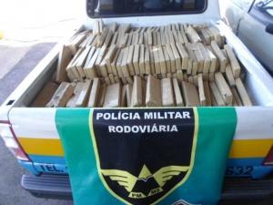 Uma das ocorrências de apreensão de maconha da PMRE em Mato Grosso do Sul Foto: Divulgação/PMRE