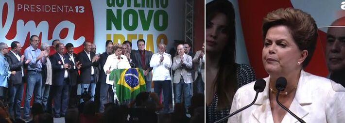 """<p style=""""text-align: justify;"""">Aos gritos de olê, olê, olá, Dilma foi recebida por militante do PT em São Paulo. Seu primeiro agradecimento foi ao ex-presidente Luiz Inácio Lula da Silva. Em seguida, ao vice Michel Temer e a sua esposa Marcela. Depois,"""