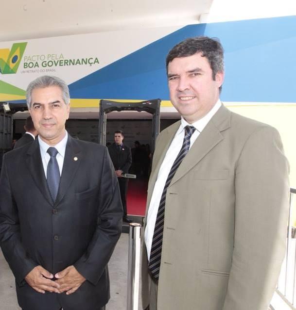 Governador eleito Reinaldo Azambuja (PSDB) com presidente da Famasul, Eduardo Riedel em evento em Brasília<br />Foto: Reprodução/Facebook