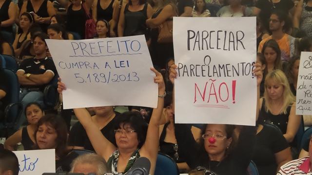 Professores não querem o reparcelamento do reajuste de 8,46% que já deveriam estar recebendo<br />Foto: Tayná Biazus