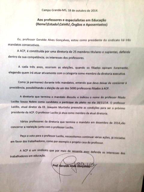 Carta enviada por Geraldo Gonçalves no dia 18 de outubro, dois dias antes do registro da Chapa 1