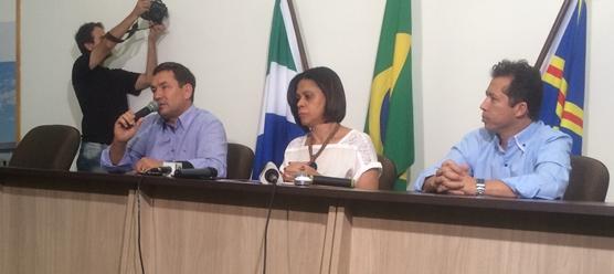 Coletiva de imprensa no auditório da Semed<br />Foto: Leide Laura Meneses