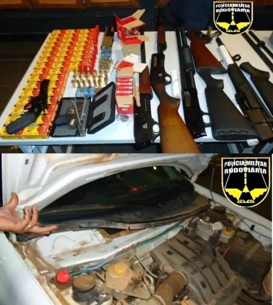 Munições e armas apreendidas pela PMR<br />Foto: Divulgação PMR