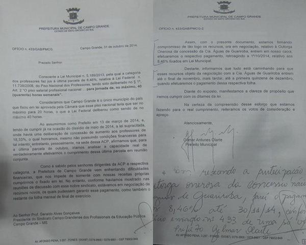 Ofício entregue por Gilmar Olarte aos professores municipais<br />Foto: Tayná Biazus