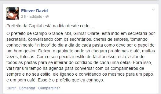 """O """"ex-assessor"""" do prefeito divulgou a agenda em sua rede social<br />Foto: Reprodução"""