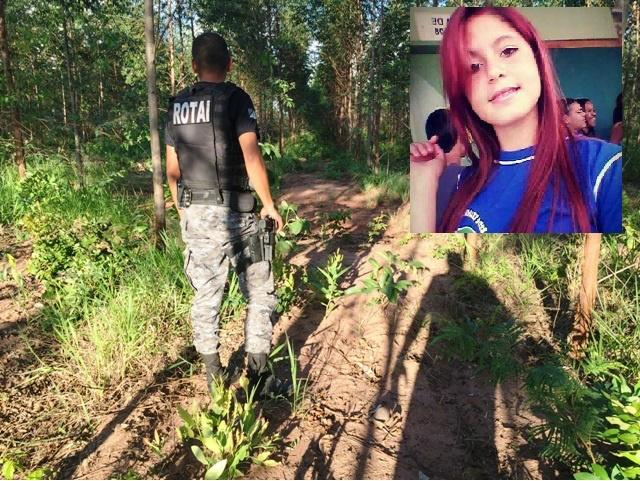Policiais da Rotai vasculham a área da região do contorno ferroviário, em meio aos eucaliptos, em busca dos assassinos; no detalhe, Maísa, covardemente assassinada (Foto: Marco Campos/Arquivo Facebook)