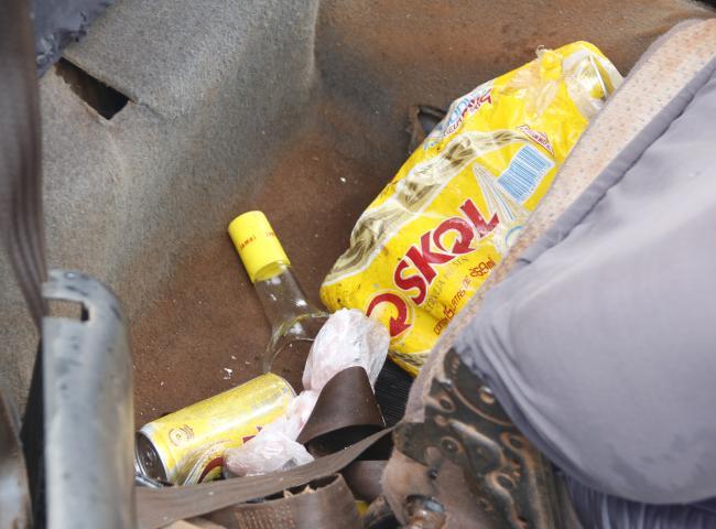 Haviam latinhas de cerveja e garrafa de pinga no carro de Luís Silva