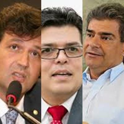 Ex-secret´rio Luiz Henrique Mandetta, prefeito Gilmar Olarte e ex-prefeito Nelsinho Trad