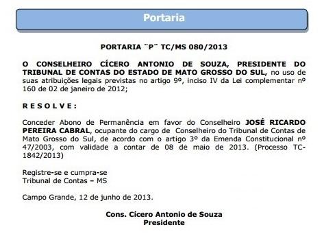 Portaria assinada por Cícero de Souza foi publicada no dia 12 de junho de 2013.