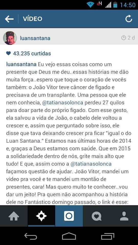 O cantor Luan Santana postou a história de João em sua rede social, enviou presentes a João e destacou que vai fazer uma visita para seu fã<br />Foto: Divulgação