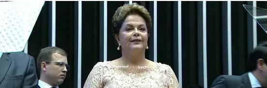 Presidente Dilma durante discurso de posse no Congresso Nacional<br />Foto: G1