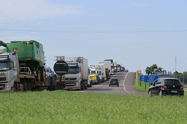 Reivindicação dos caminhoneiros em Campo Grande na última terça-feira
