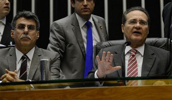 Romero Jucá, relator do orçamento, e Renan Calheiros, presidente do Senado.