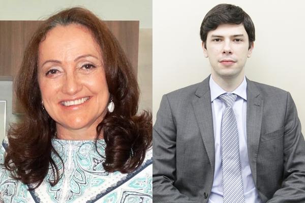 À esquerda, prefeita Marta Maria e à direita promotor de justiça Thiago Martins
