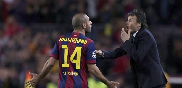 Luis Enrique armou uma das melhores defesas da história do Barça. Mascherano é titular/Foto:EFE/Alberto Estévez