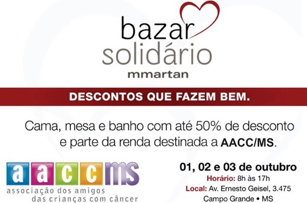 O Bazar Solidário acontecerá entre os dias 01 e 03 de outubro (Foto Divulvação)